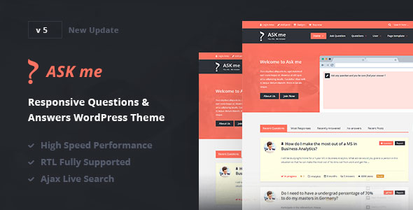 【WP主題】Ask Me – Responsive Questions & Answers WordPress
