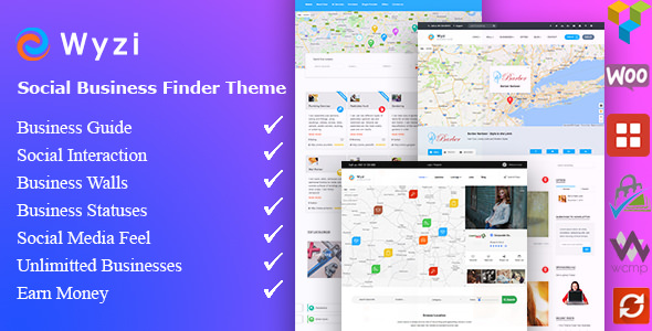 【WP主題】Wyzi – Business Finder and Service Provider Booking WordPress Social Look Directory Listing Theme